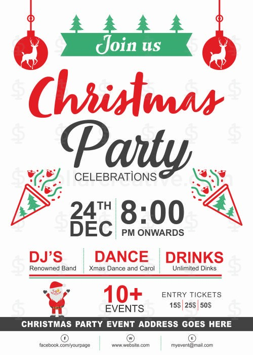 Christmas Party Invite Template 1dollarcreative Com